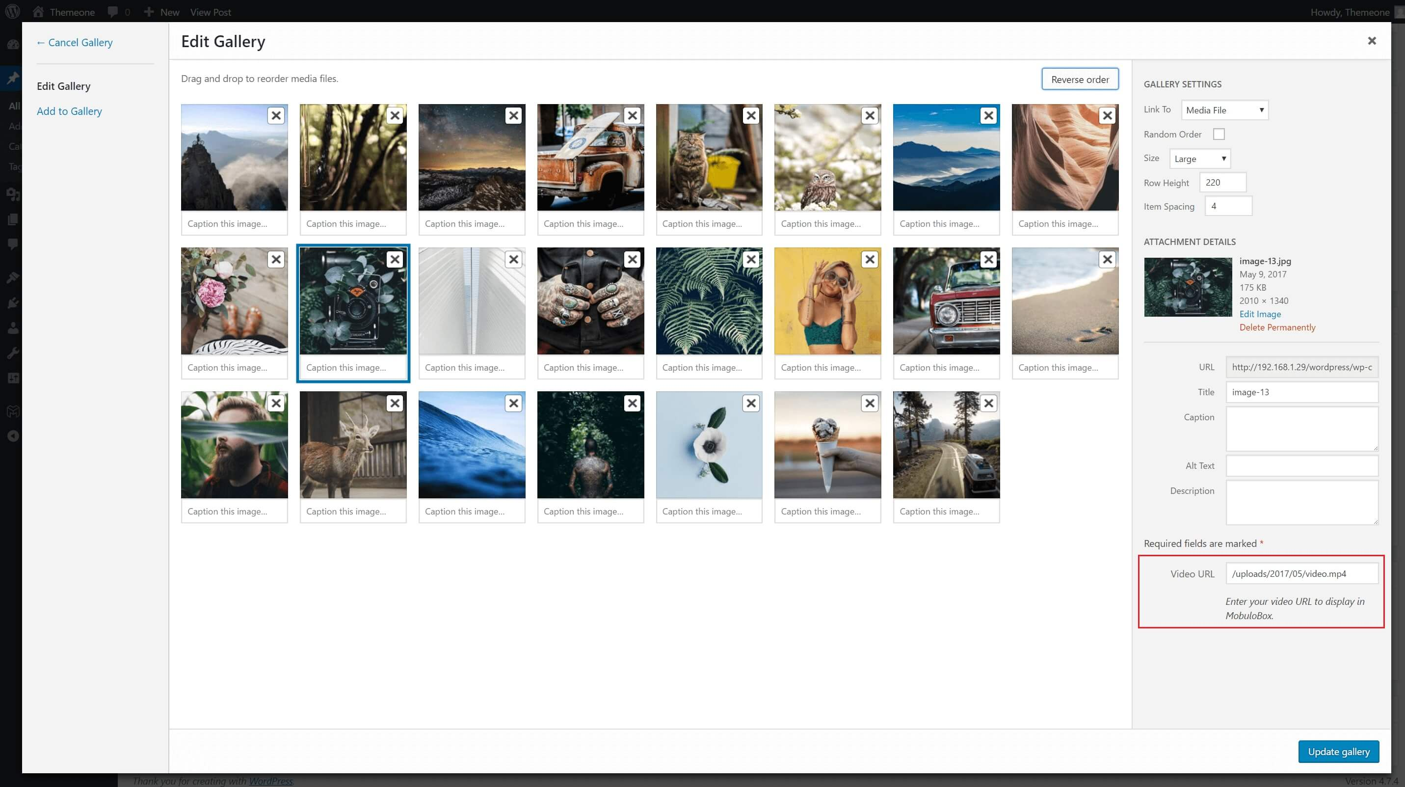 Add lightbox to wordpress gallery Cached